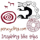 perucycling.com logo. Original native designs. Recuay civilization 1,100 B.C., Ancash, Peru