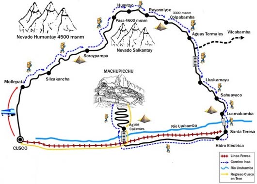 Salkantay trek to Machu Picchu Map